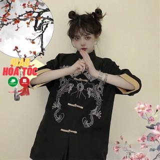Áo shanghai nam nữ thêu rồng tay lỡ phong cách Trung Hoa cổ trang thumbnail