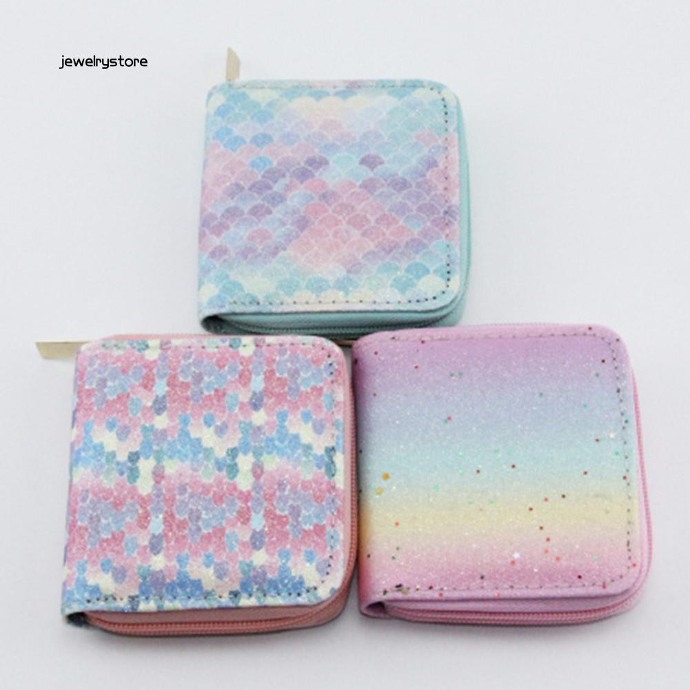 【JEW】Student Girl Sequins Mermaid Scale Gradient Color Zipper Wallet Short Coin Purse
