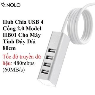 Bộ Chia USB 4 Cổng 2.0 Model HB01 Cho Máy Tính Dây Dài 80cm
