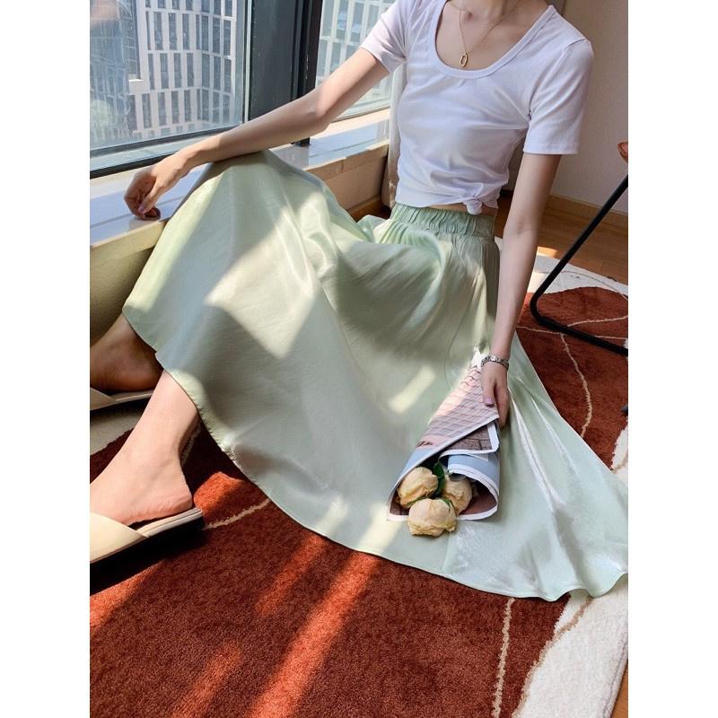 Chân váy lụa xinh - Hàng Quảng Châu mềm mịn siêu đẹp sang chảnh ảnh thật + video