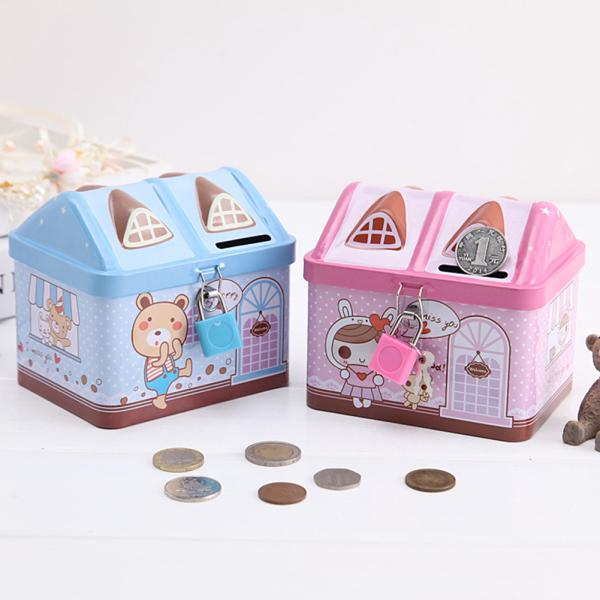 Cartoon Iron House Cute Piggy Bank Money Saving Box Tinplate Creative Coin Pot Gifts for Children
