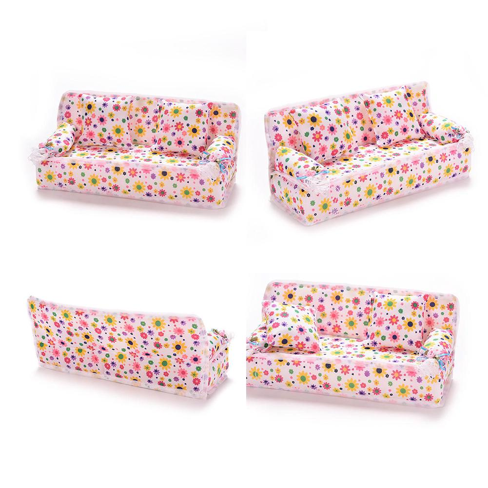 1 Pcs Mini Sofa Play Toy Flower Print Baby Plush Stuffed Furniture With 2x Cushions For Doll Couch House