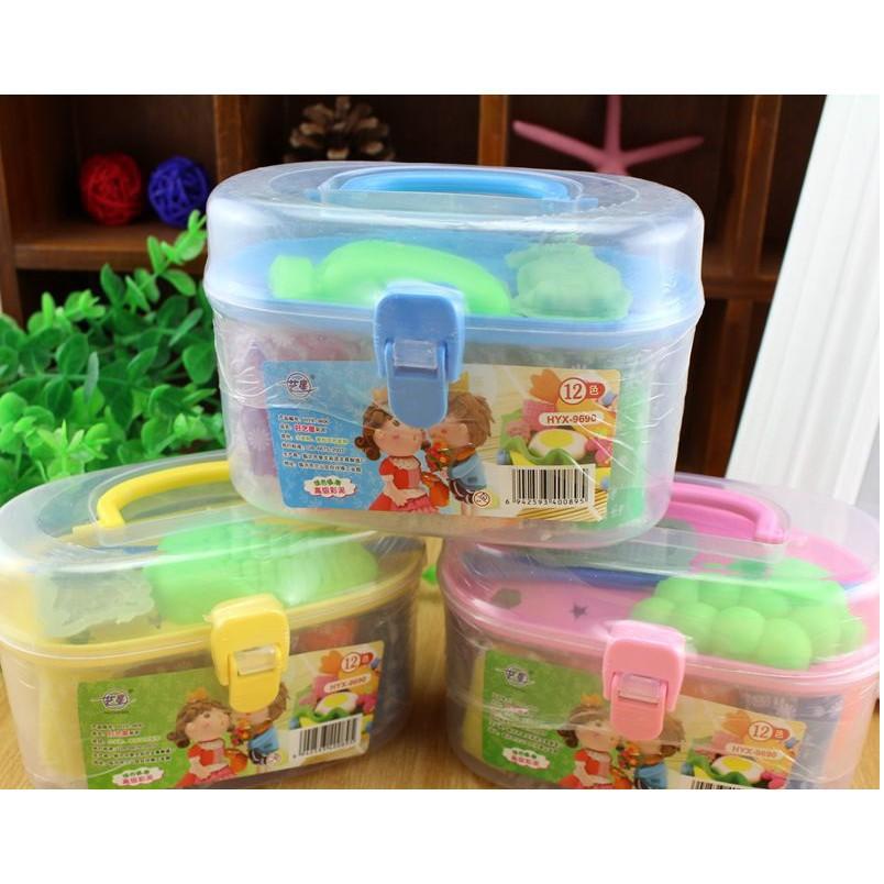 (Cực Sốc) Hộp đồ chơi đất sét 12 màu có khuôn cho bé-5969 (Xả Hết)
