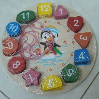 Món đồ chơi đồng hồ gỗ hình học và số cho bé – Đồ chơi gỗ thông minh – Đồ chơi gỗ an toàn
