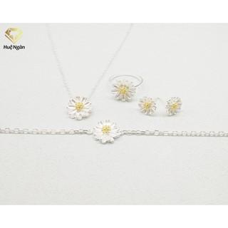 Combo dây chuyền, bông tai, nhẫn và lắc tay bạc 925 Huệ Ngân - Cúc họa mi PP1159-TB