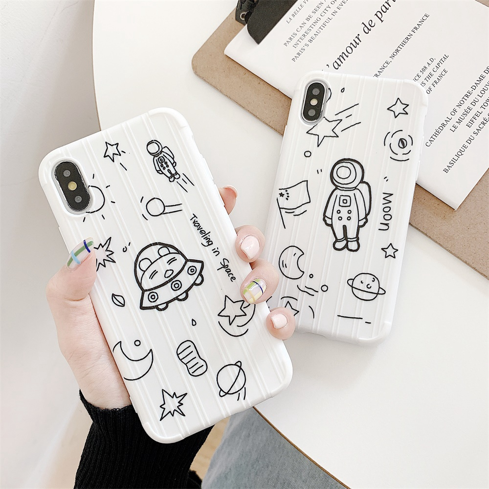 Soft Covers For iPhone XS Max Case IP7 8 Plus XR Xs Outer Space Astronaut Shell TPU Phone