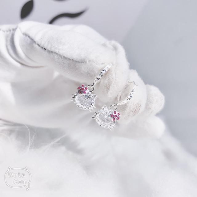 ❤️FREESHIP Khuyên tai bạc MÈO DỄ THƯƠNG QMJ - Bạc 925 chuẩn cao cấp - mèo kitty cài hoa siêu xinh xắn cho bé gái