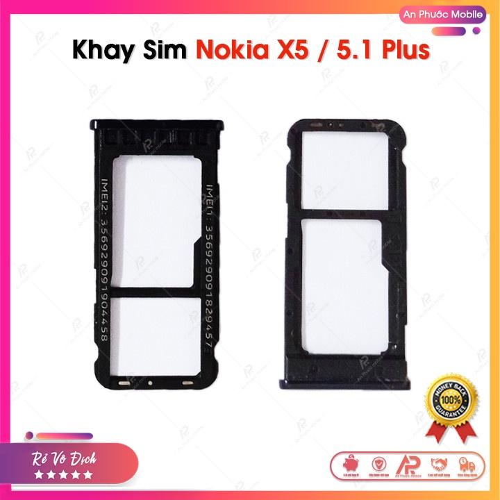 Khay Sim Nokia X5 / 5.1 Plus - Linh Kiện Điện Thoại Nokia 5.1+ Zin Bóc Máy