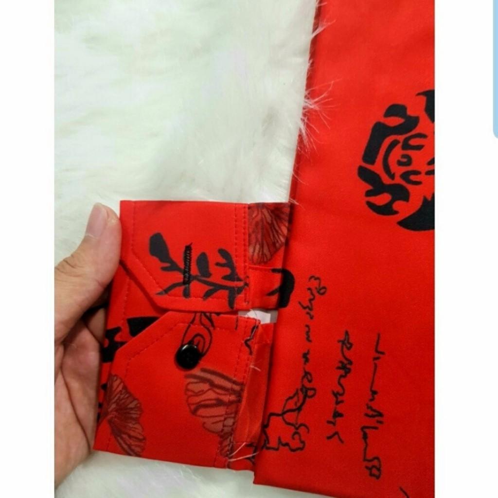 Áo sơ mi [FREESHIP] Sơ mi nam chất lụa dài tay họa tiết hoa hồng đỏ cao cấp