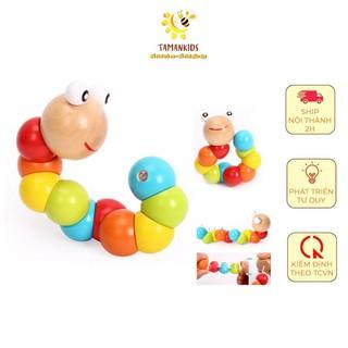 Con sâu gỗ xinh đẹp nhiều màu sắc - Đồ chơi gỗ giúp bé luyện tay khéo léo, phân biệt màu sắc - Tamankids thumbnail