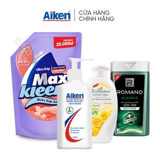 Combo Sạch Khuẩn Toàn Diện Wipro: Nước rửa tay 250g + Nước giặt xả 2.4kg + Sữa tắm 180gx2