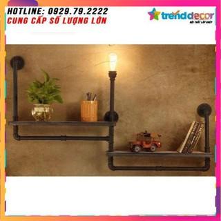 Bộ Kệ treo tường kiêm đèn vintage chất liệu ống sắt sơn tĩnh điện ống nước trang trí trangtriphong.vn