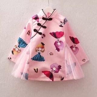 Váy xòe hình búp bê cổ trụ cho bé gái từ 6kg đến 18kg( màu đỏ, hồng)