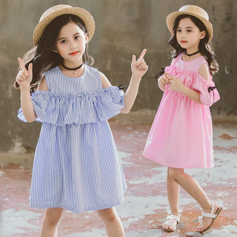 Váy trễ vai bằng cotton theo phong cách Hàn Quốc dùng cho bé gái