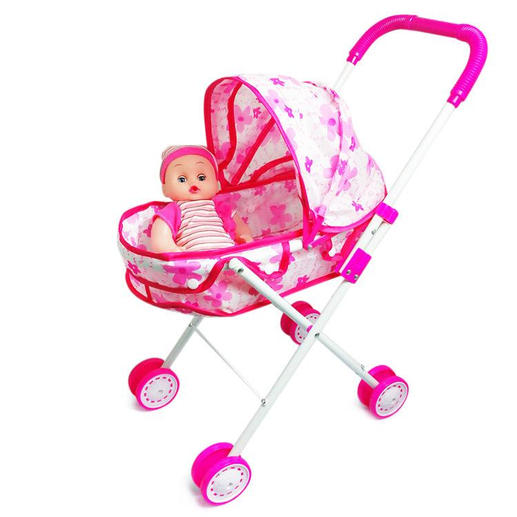 Baby trolley toy Mini Doll, enhanced iron large tug cart