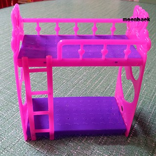 Mback_Cartoon Plastic Bunk Bed Furniture Kids Toy Accessories Dolls House Decoration