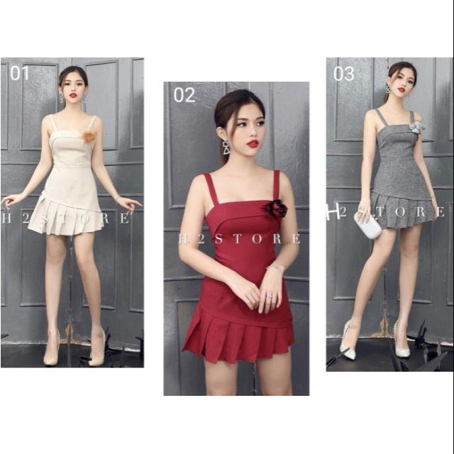 Đầm Body 2 Dây Chân Váy Xếp Ly