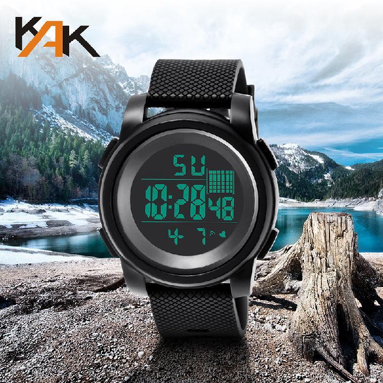 นาฬิกาข้อมือผู้ชายแบบอะนาล็อกดิจิตอลทหารกองทัพกีฬา LED 166