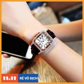 [Hàng chính hãng] Đồng hồ nữ Caiqi chính hãng dây da mặt vuông viền đá