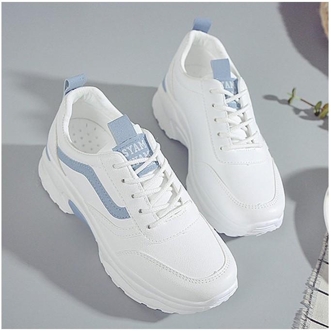 Giày hot 2020] Giày thể thao nữ màu trắng viền xanh hot hit DH2521 đi nhẹ êm chân phù hợp mọi lứa tuổi