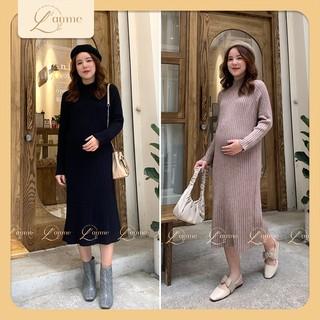 Váy bầu thu đông cổ 5p chất len siêu nhẹ, ấm áp phù hợp với mọi vóc dáng sản phẩm của LAMME thumbnail