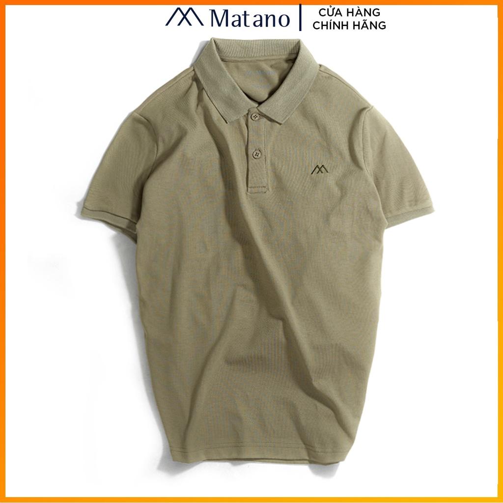 Áo polo nam rêu trơn basic đẹp MATANO - Áo thun nam có cổ trụ bẻ, vải cá sấu cotton cao cấp chính hãng giá rẻ 023