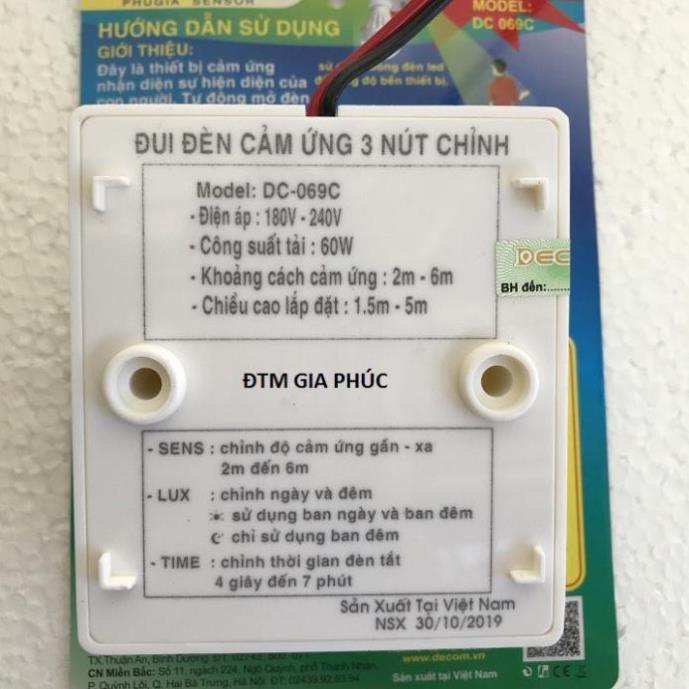 Đui đèn cảm ứng 3 nút chỉnh
