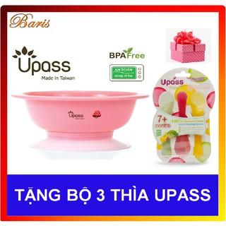 Bát ăn dặm 3 giai đoạn không BPA có đế hút chân không chống đổ UPASS (Tặng bộ 3 thìa UPASS)