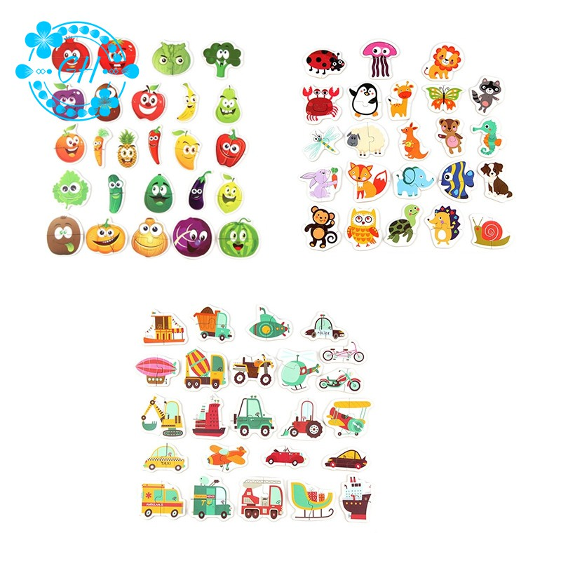 48Pcs Baby Puzzle Jigsaw 24 Patterns Baby Toys Early Education Cartoon Matching Game Children'S Wood