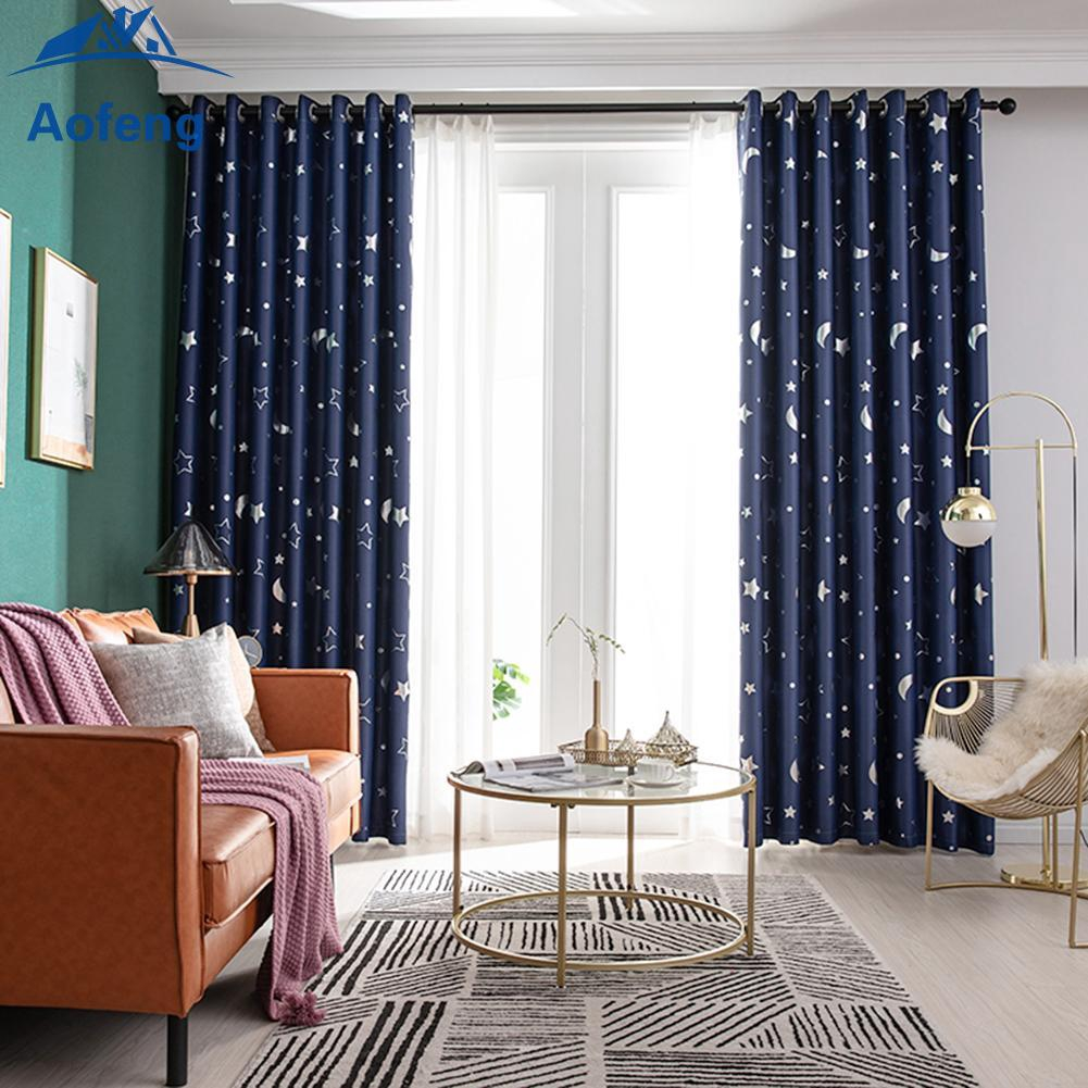 ✿Ready Stock✿ Star Moon Print Bedroom Blackout Curtains Living Room Shading Window Blinds [aofeng]