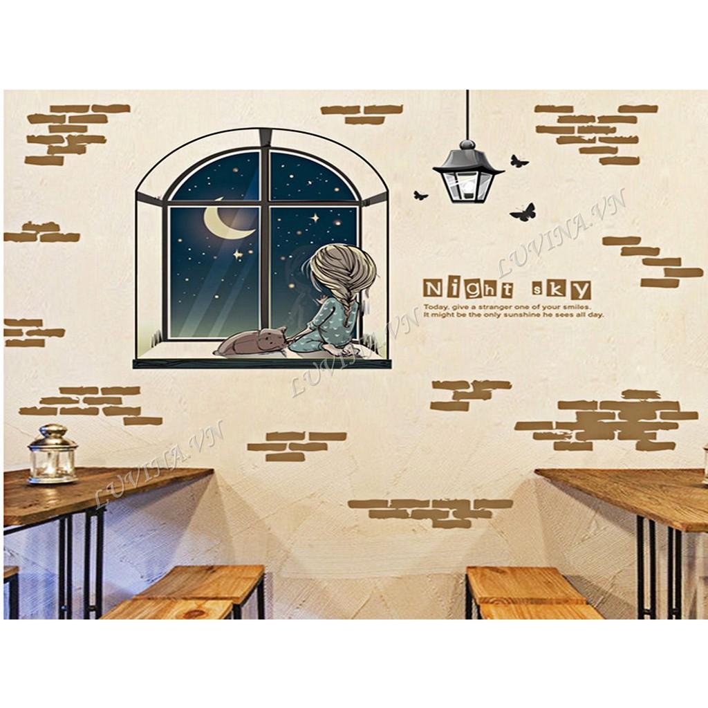 Decal dán tường trang trí phòng khách, phòng ngủ, phòng ăn - Cửa sổ trời đêm