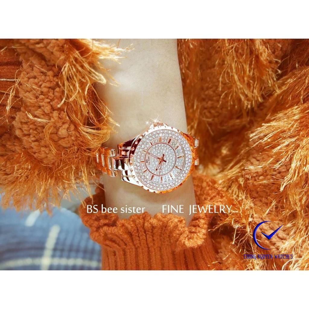 Đồng hồ nữ Bee Sister kim cương cao cấp BS25D màu vàng hồng