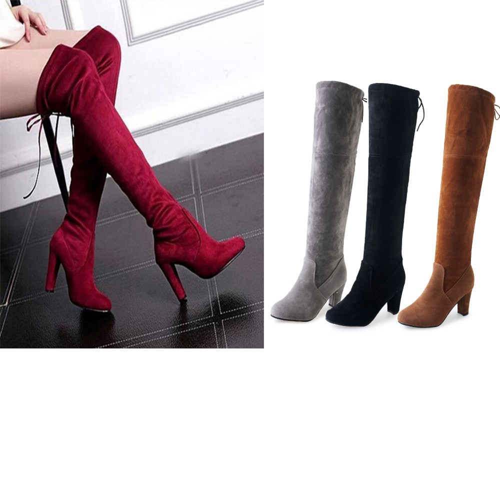 AIAITOP Lady Suede Pointed Toe Over The Knee Casual Lace Up Boots