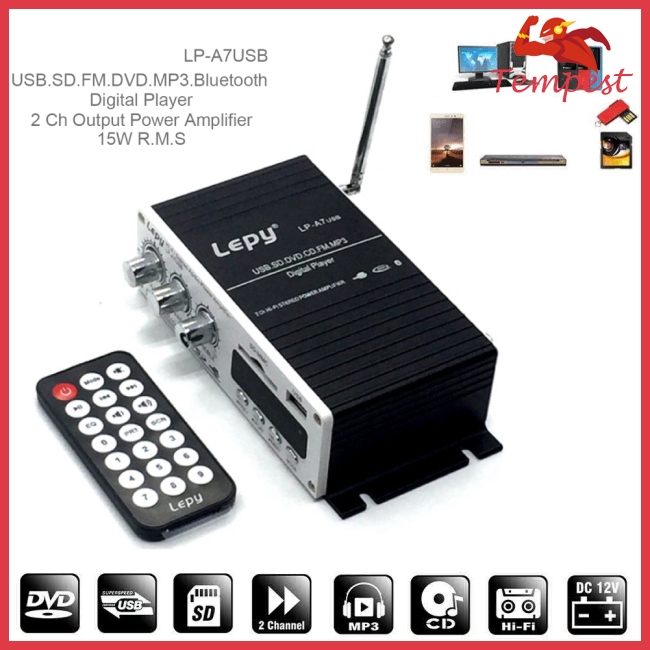 LEPY Bluetooth Mini Power Audio Amplifier Hi-Fi AMP MP3 FM USB SD AUX Car Home