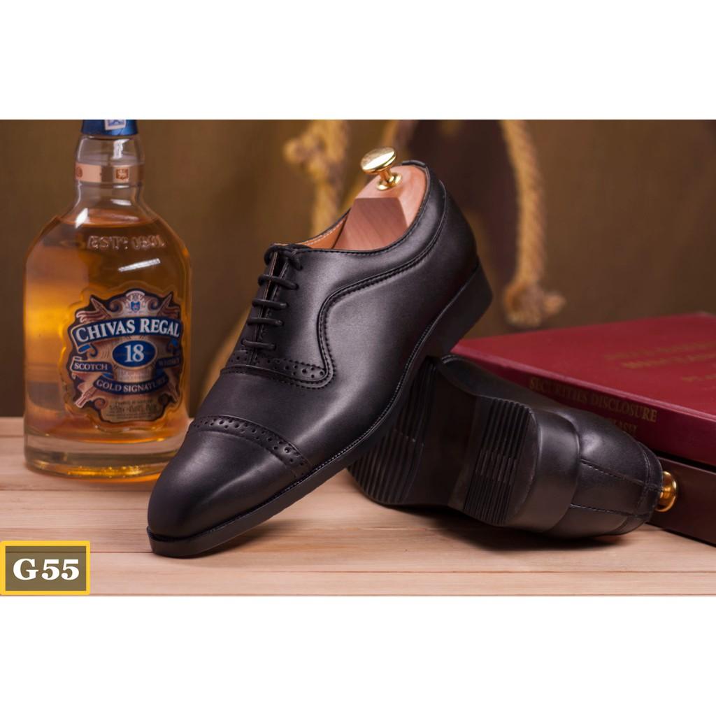 [Miễn Phí Ship] Giày Công Sở + Hộp : Da Trơn Đen G55