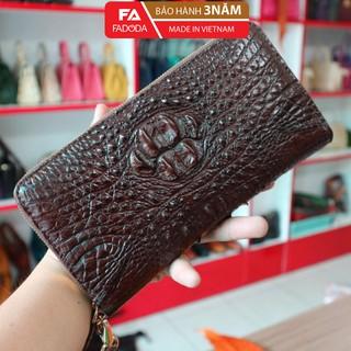 Ví nữ da cá sấu cầm tay Fadoda cao cấp làm từ phần đầu da cá sấu màu nâu sang trọng - FCW22-02G thumbnail