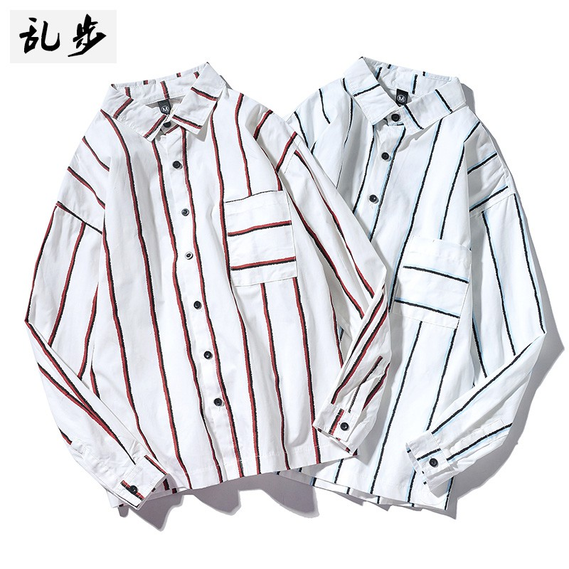 Men's long-sleeved shirt fashion motifs vertical stripes