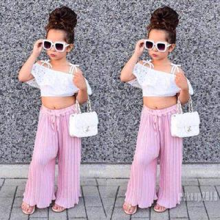 Mu♫-Toddler Baby Girls Fashion Lace Off Shoulder Crop Tops + Wide Leg Long Trousers Outfits Hot Sale