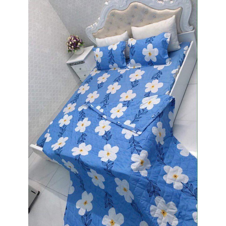 Ga trải giường poly cotton hoa 5 cánh nền trăng