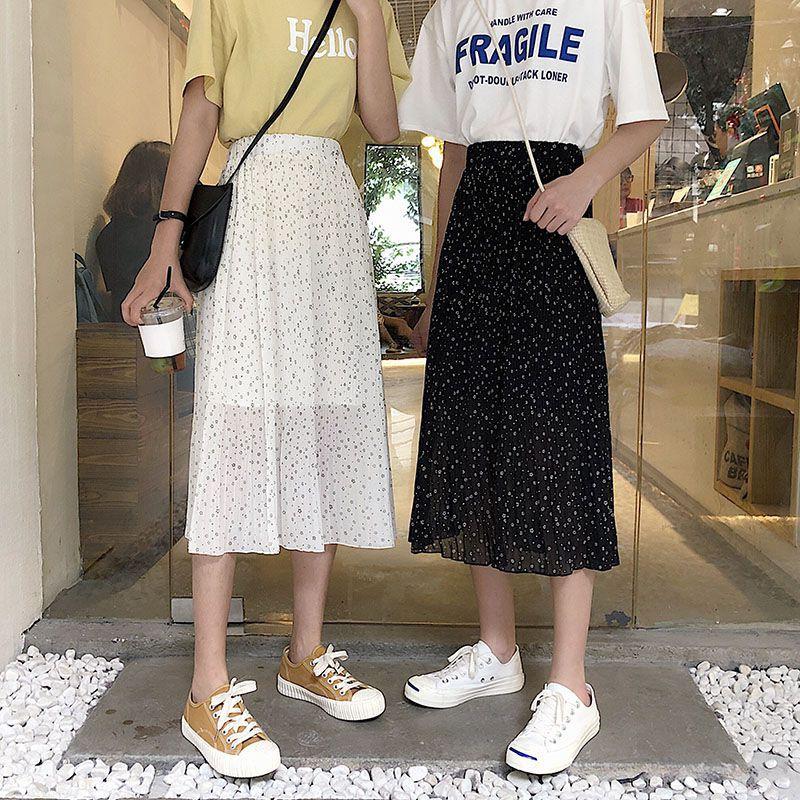 [Mã FAGREEN55 giảm tới 30K đơn 99K] Chân Váy Chiffon Lưng Cao Xếp Ly In Hoa Nhỏ Dễ Thương