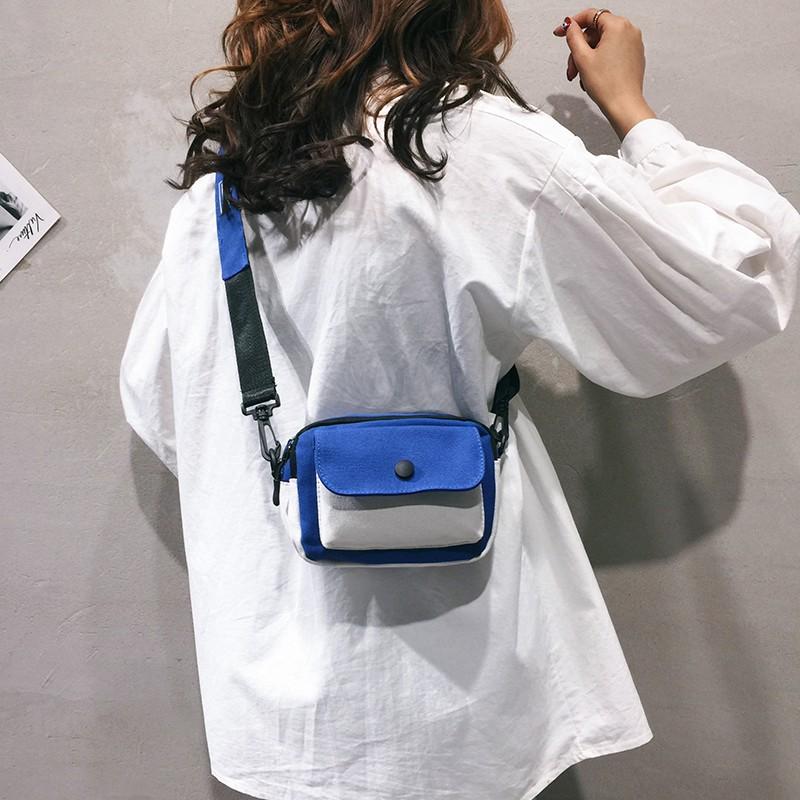 Canvas bag female 2018 new fashion shoulder Messenger bag pe