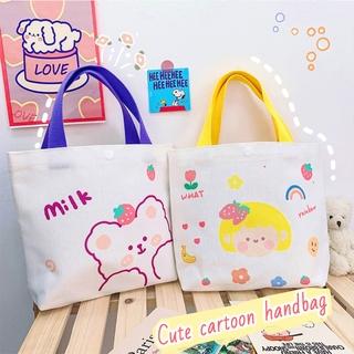 Túi vải ngăn rộng in hình hoạt hình dễ thương cho nữ