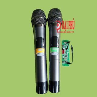 Micro không dây đôi UHF loa kéo mạch loa kéo - SET tần số - thân nhôm - phím bấm, micro cho loa kéo