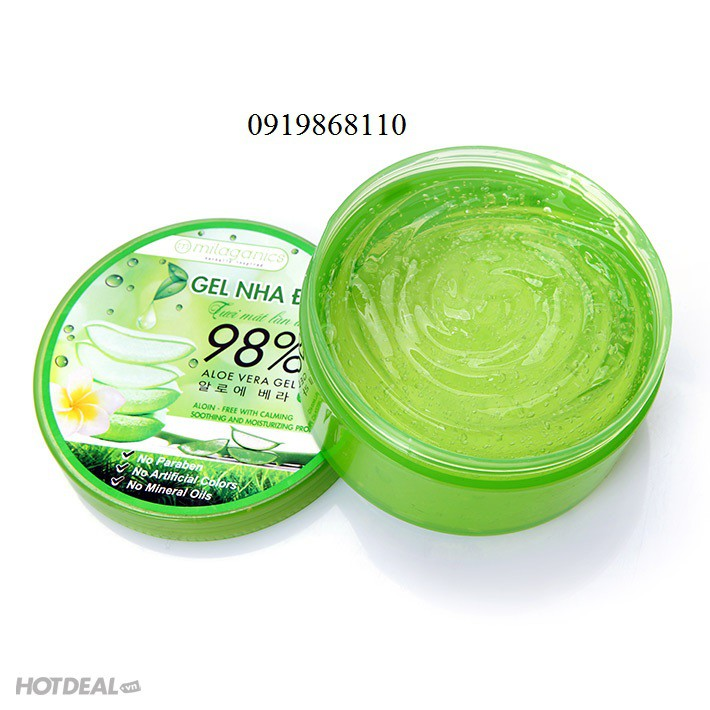 Gel Nha Đam 98% Milaganics Gel Aloe Vera 300ml