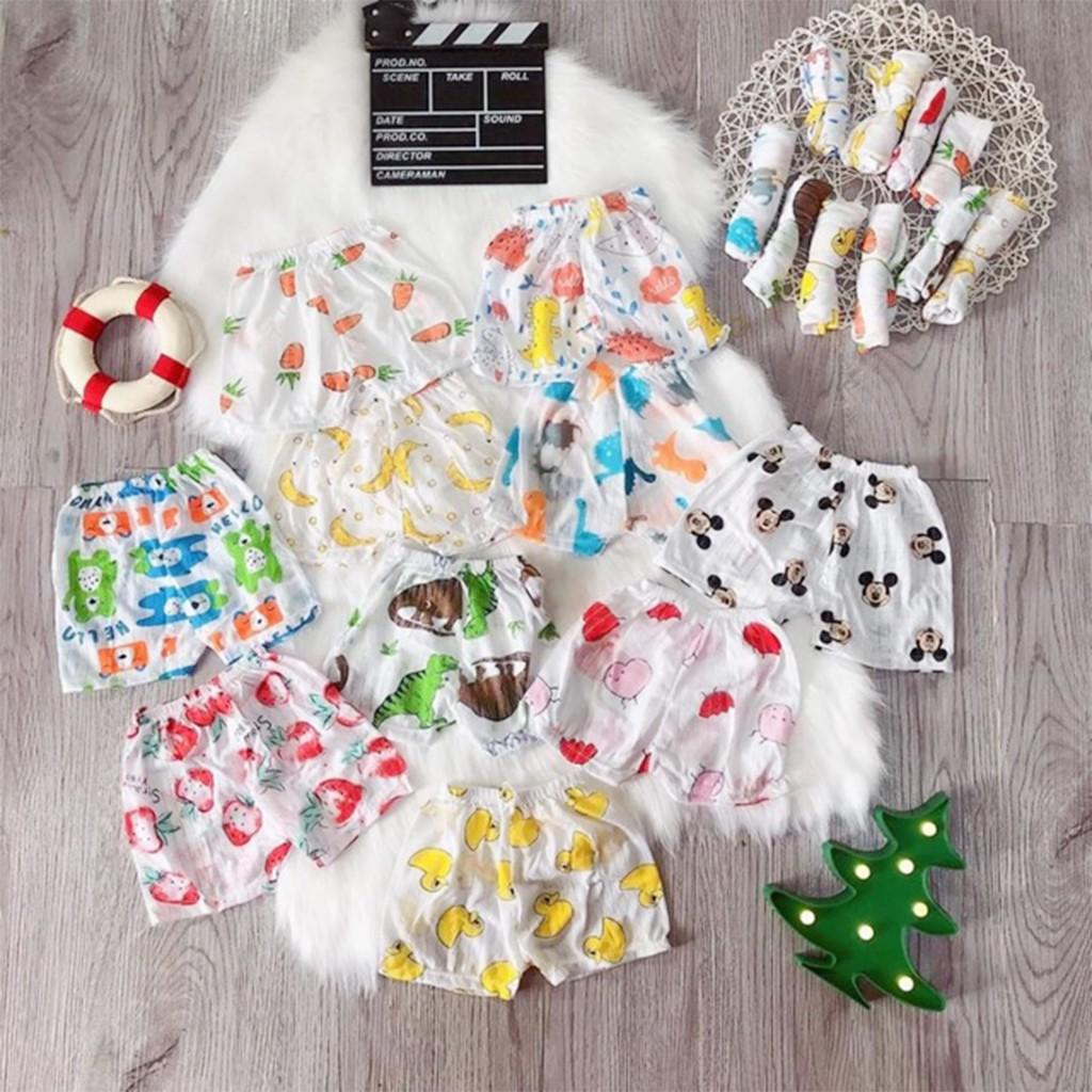 Quần đùi chục cotton giấy cho bé quần đùi bé trai gái sơ sinh thoáng mát từ 3-14kg  - QĐ02