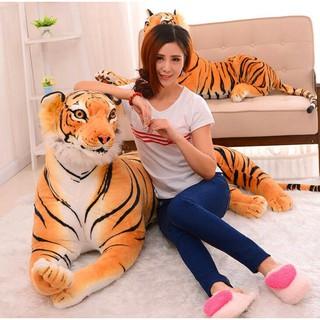 Gối lông nhung mềm hình hổ dài 60cm trang trí ghế sofa