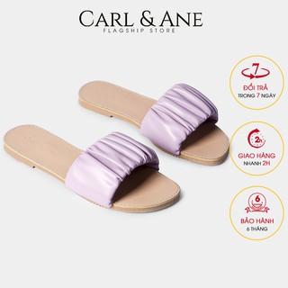 Carl & Ane - Dép nữ thời trang quai ngang nhún họa tiết đơn giản màu tím - DC002
