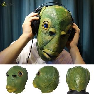 MJy5 Creepy Party Halloween Costume Party Latex Headgear Carp Face Cover Horror Green Fish Face Cover
