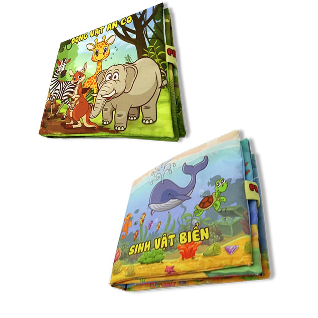 Bộ 2 sách vải cho bé chơi mà học Pipo - Sinh vật biển và động vật ăn cỏ