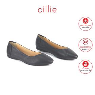 Giày búp bê đế bằng da thật Cillie 1122